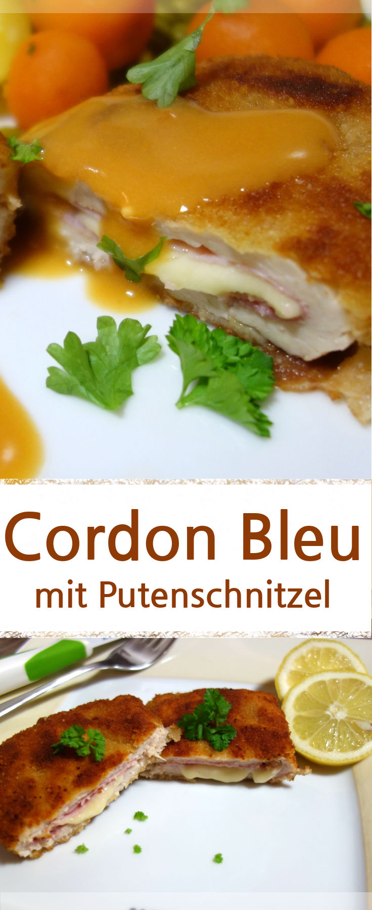 cordon bleu aus putenschnitzel gef llt mit emmentaler k se und gekochtem schinken und paniert. Black Bedroom Furniture Sets. Home Design Ideas