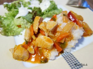 Schnelles Rezept süß sauer mit Reis und Putenfleisch