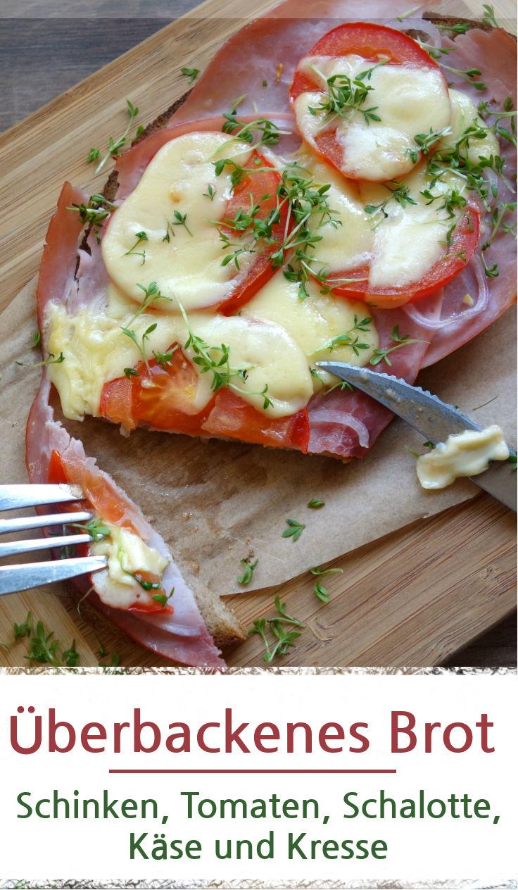 Leckeres belegtes Brot, mit Schinken und Käse im Backofen überbacken.