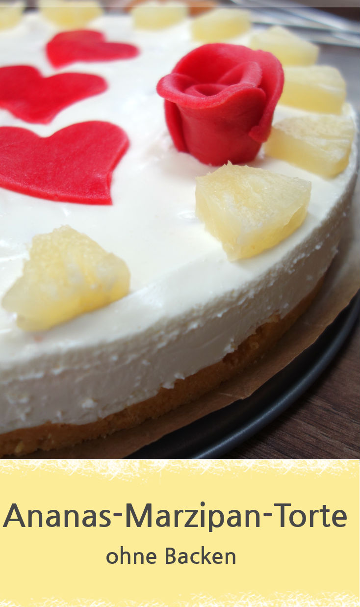 Rezepte für eine leckere Ananas-Marzipan-Torte, ganz ohne Backen.