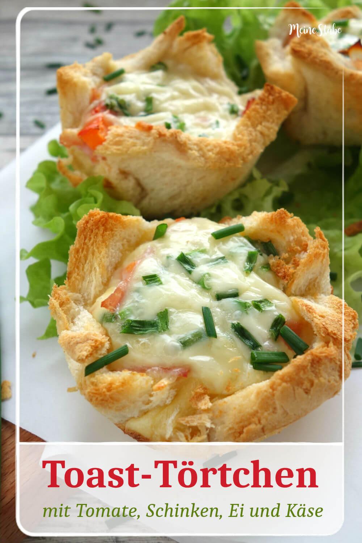Rezept für Toast-Törtchen, gefüllt mit Tomate, Schinken, Ei und Käse.