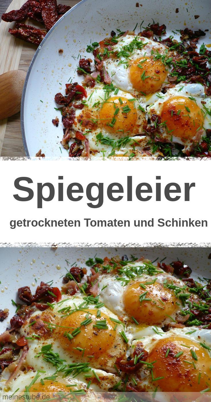 Spiegeleier auf getrocknete Tomaten und Paprika Tomaten