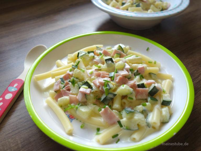 Kinder Carbonara, Nudeln mit Zucchini und Schinken