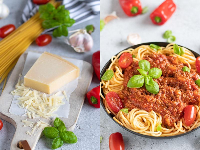 Getrocknet Spaghetti und Parmesan mit gekochter Fleischsauce von Meinestube