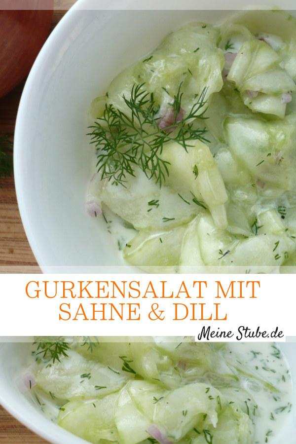 Frischer Gurkensalat mit Sahne und Dill