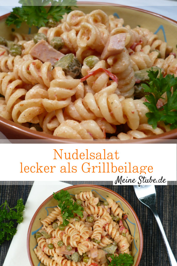 Nudelsalat mit Mayonnaise. Lecker als Grillbeilage.