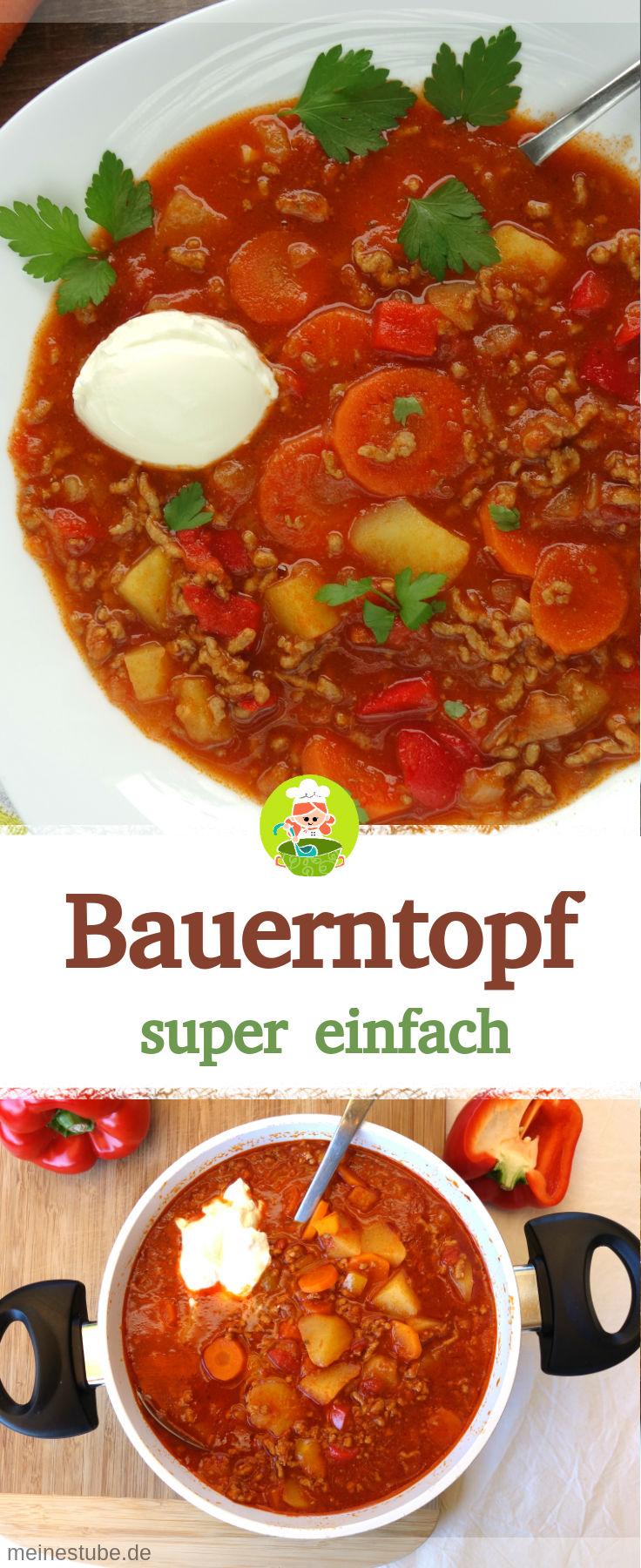 Rezept für ein leckeren Bauerntopf mit Hackfleisch, Kartoffeln und Möhren.