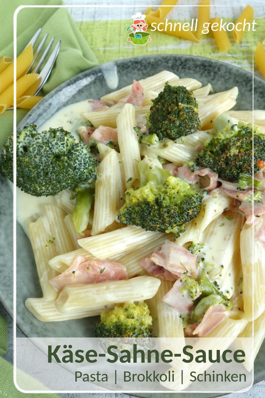 Rezept für Nudeln mit Käse-Sahne-Sauce und Brokkoli