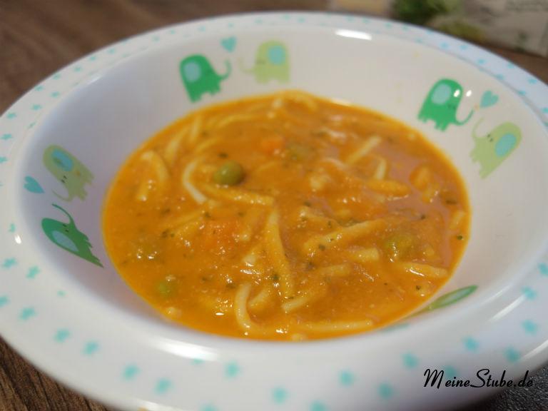 Nudeln in Schinken-Gemüse-Soße, als Babybrei oder auch für Kleinkinder.