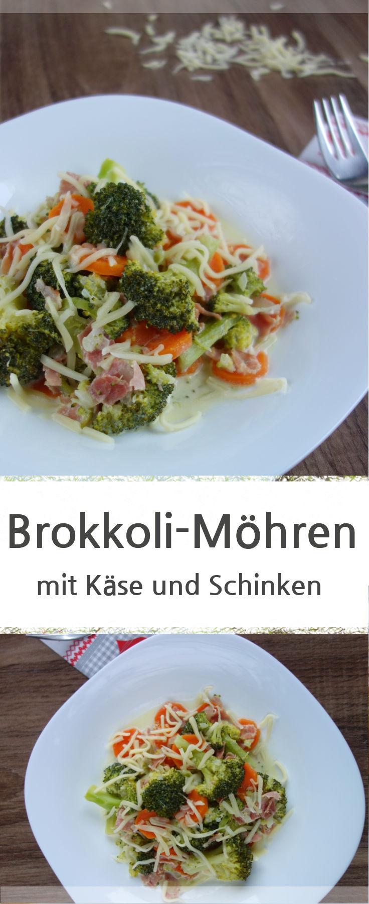 Rezept für ein leckeres Brokkoli-Gemüse-Möhren mit gedünsteten Zwiebeln und Schinken. Dazu mit Käse bestreut.