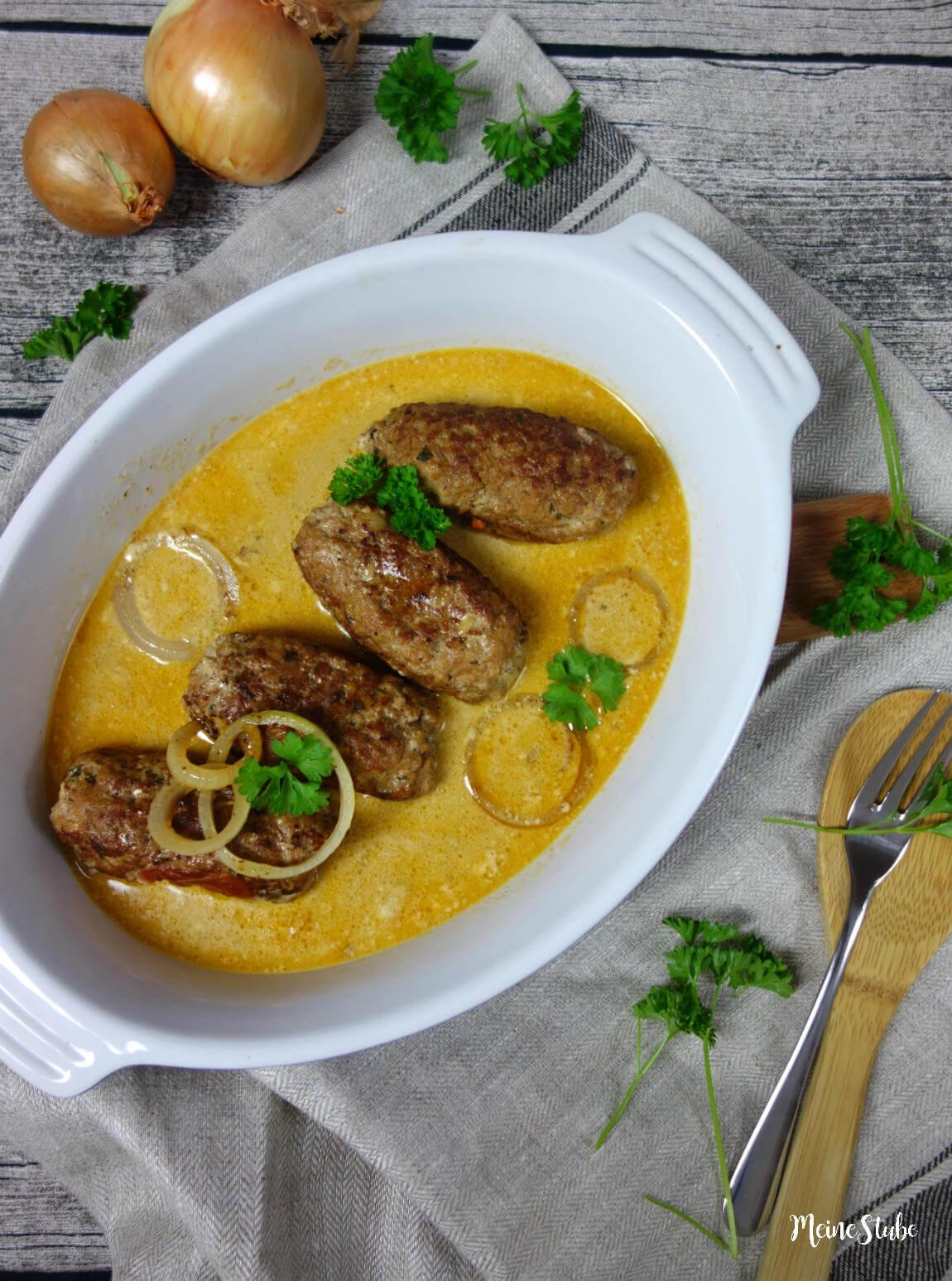 Hackfleisch-rouladen-meinestube mit Zwiebel Sahne Sauce