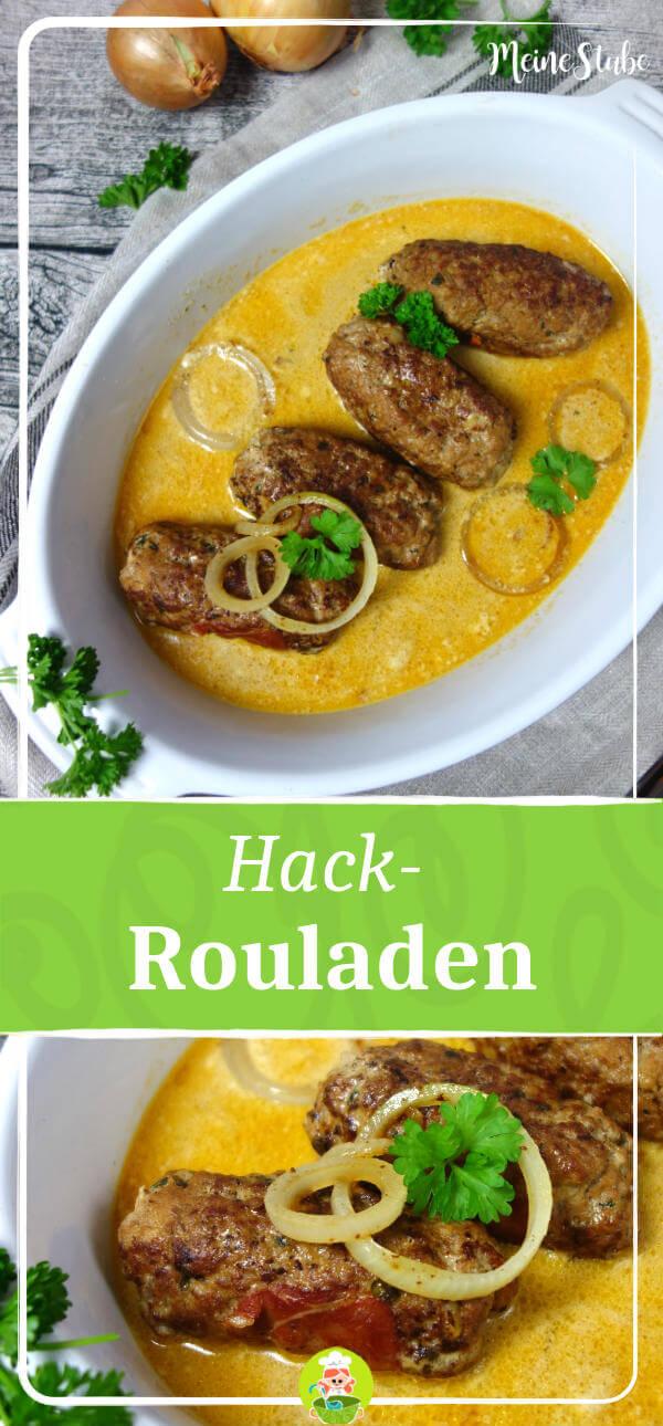 Rezept für Hackfleisch-Rouladen mit Zwiebel-Sahne-Sauce. Gefüllt mit Schinken und Gurken.