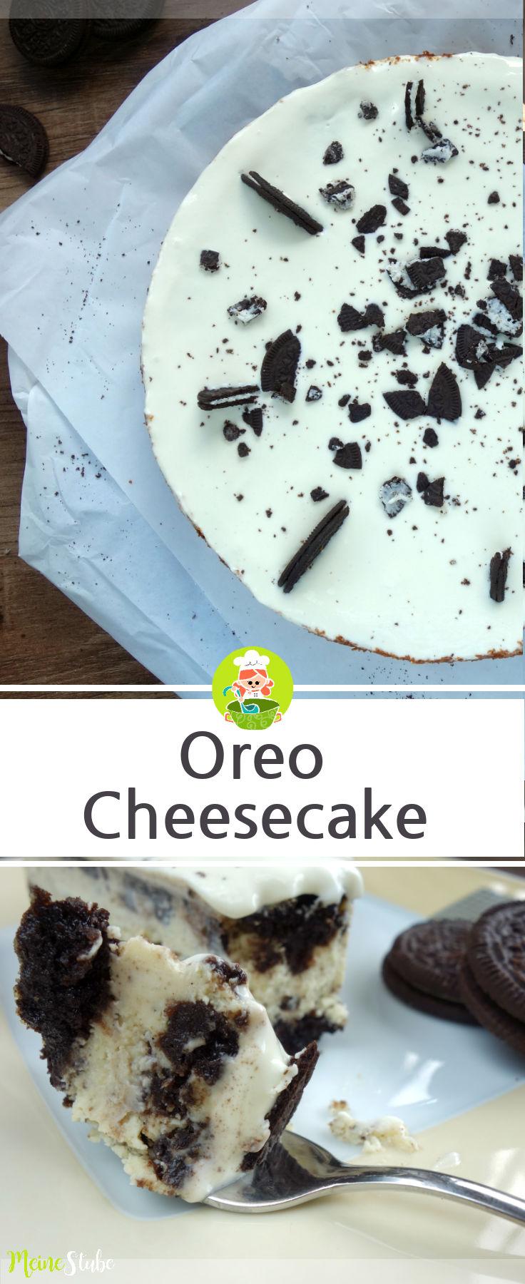 Rezept für einen Oreo Cheesecake, ein Kuchen aus Oreo Keksen.