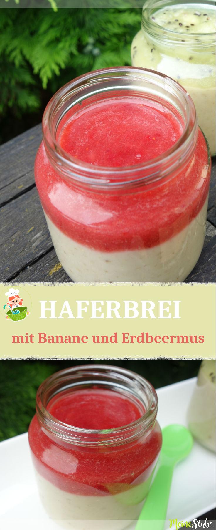 Rezept für Babybrei oder Kinderbrei, mit Bananen und Erdbeermus