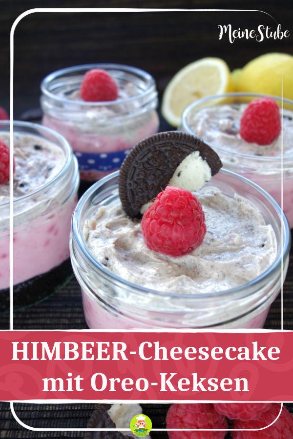 Rezept für leckere Himbeere-Cheesecake mit Oreo Keksen, aus dem Glas.
