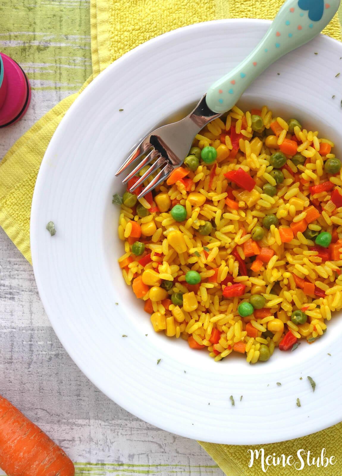Rezept für Kinder Paella mit buntem Gemüse