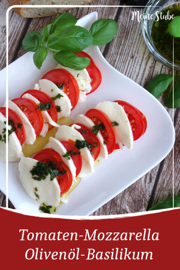 Rezept von meinestube für tomaten-mozzarella-salat und einer Olivenöl-Basililḱum-sauce