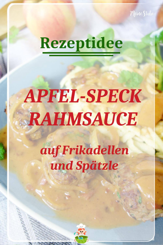Rezeptidee für Apfel-Specksauce. Dazu Frikadellen und Spätzle