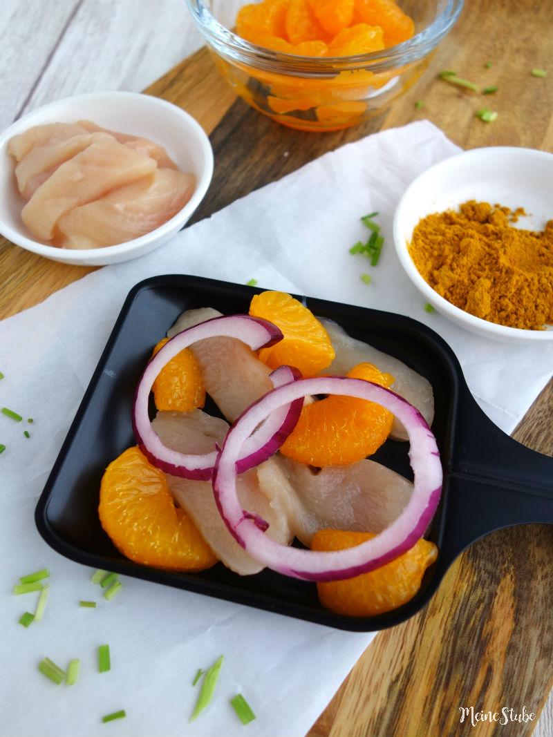 Raclette-Ideen für ein Hähnchen-Curry-Pfännchen