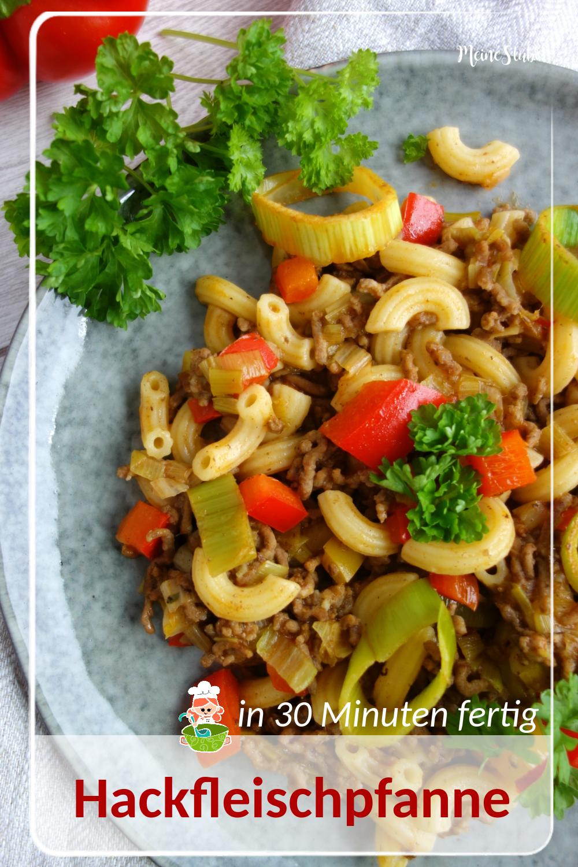 Schnelle Hackfleischpfanne mit Pasta und Gemüse