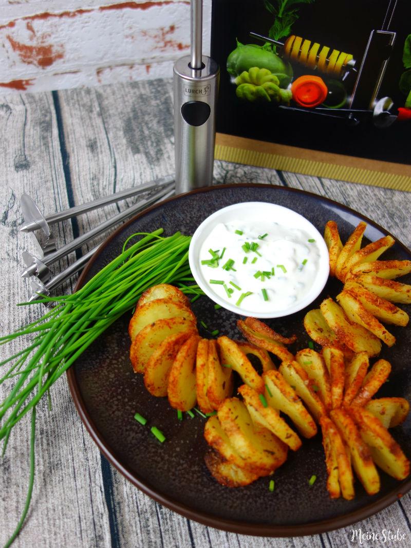Kartoffelspiralen und Kartoffelchips mit Lurch Twister