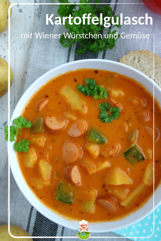 Rezept für Kartoffelgulasch mit Wiener Würstchen und Gemüse