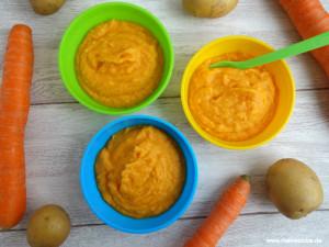 Rezept für Babybrei mit Möhren, Hähnchen und Kartoffeln. Meinestube