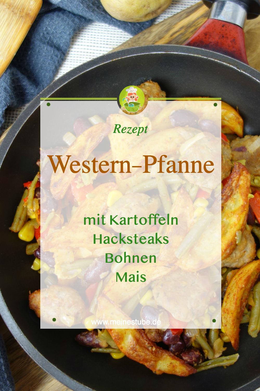 Rezept für Western Pfanne mit Kartoffeln, Hacksteaks und Gemüse