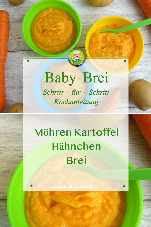 Rezept für ein Babybrei als Mittagsbrei mit Möhren, Kartoffeln und Hähnchen