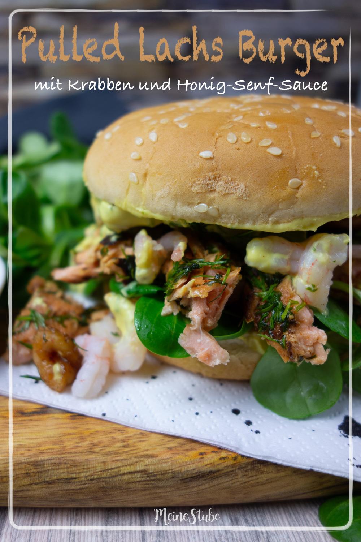 Rezept-Anleitung für Pulled Lachs Burger mit Krabben