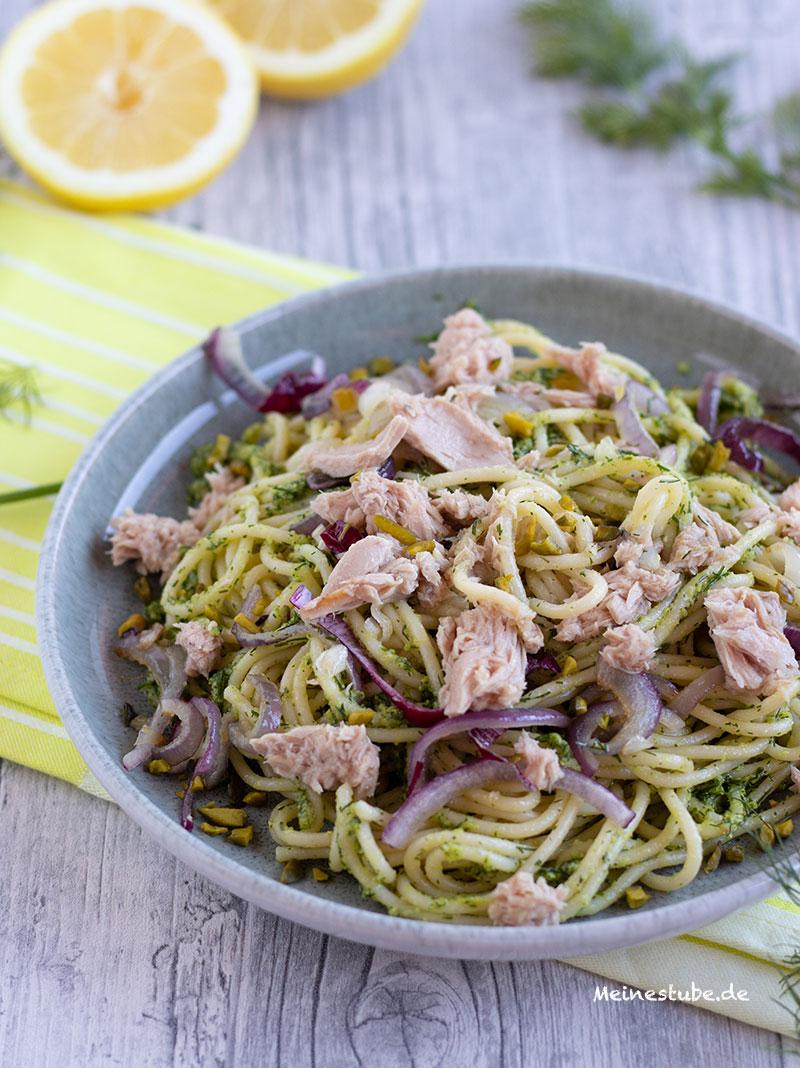 Thunfisch mit Dillpesto und Spaghetti, meinestube