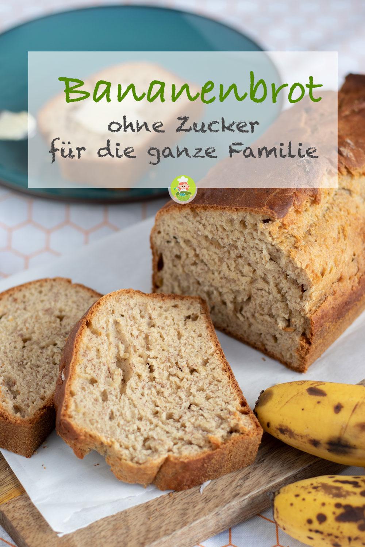 Rezept für ein Bananenbrot ohne Zucker, für die ganze Familie