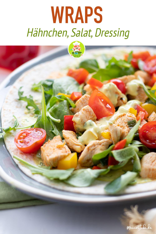 Wraps mit Hähnchenwürfel und Salat von meinestube