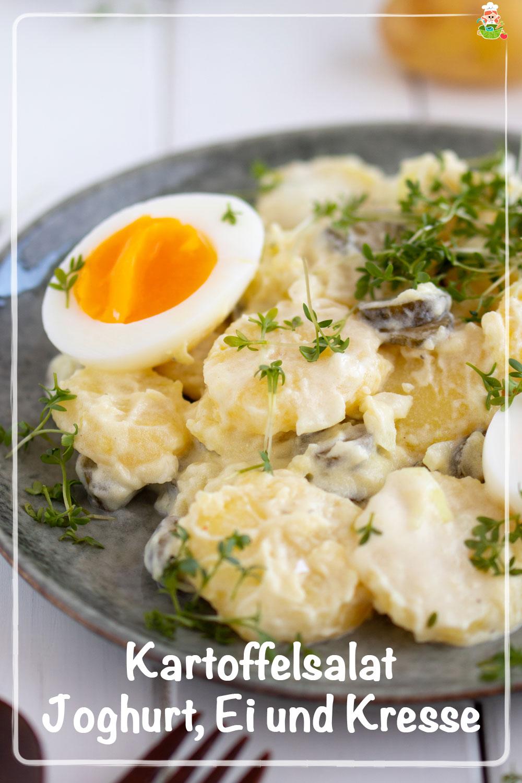 Rezept für Kartoffelsalat mit Joghurt, Ei und Kresse. Meinestube