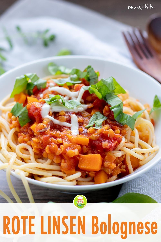 Rote Linsen Bolognese mit Spaghetti von meinestube