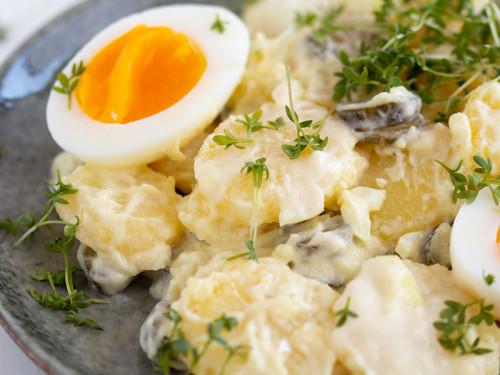 Kartoffelsalat mit Ei und Kresse und leichte Variante mit Joghurt und Mayo, meinestube