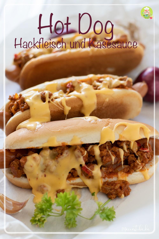 Rezept für Hot-Dog mit Hackfleisch und Käsesauce, meinestube