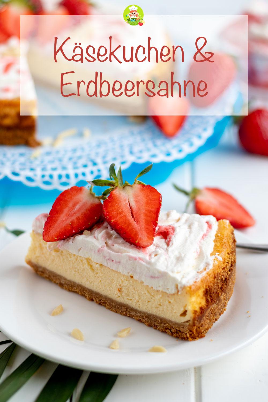 Rezept für einen Käsekuchen mit Erdbeersahne, meinestube