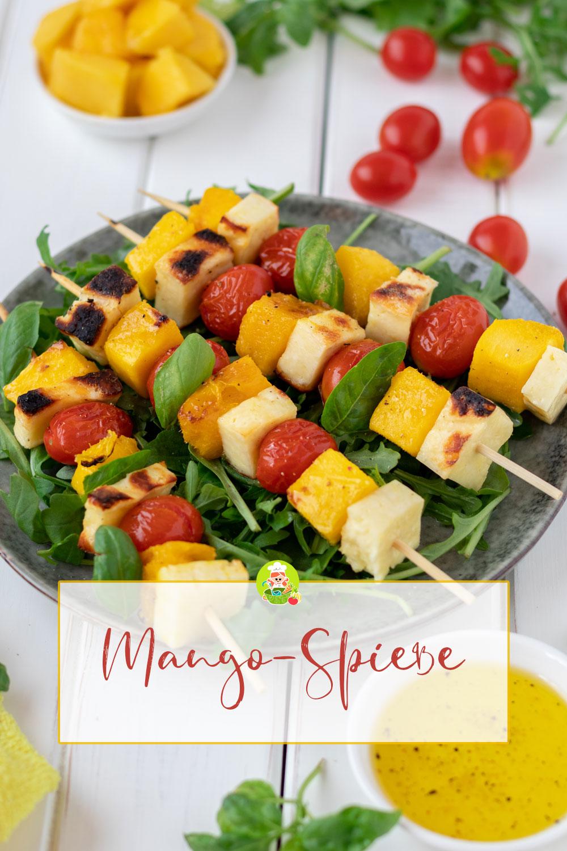 Rezept für fruchtig und herzhaft-würzige Mango-Käse-Spieße, meinestube