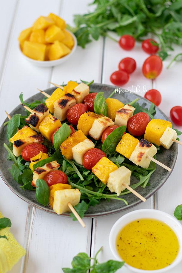 Rezept für Mango-Käse-Spieße zum Grillen, meinestube