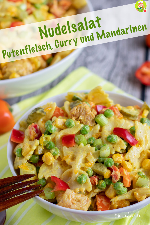 Nudelsalat mit Putenfleisch und Curry, meinestube