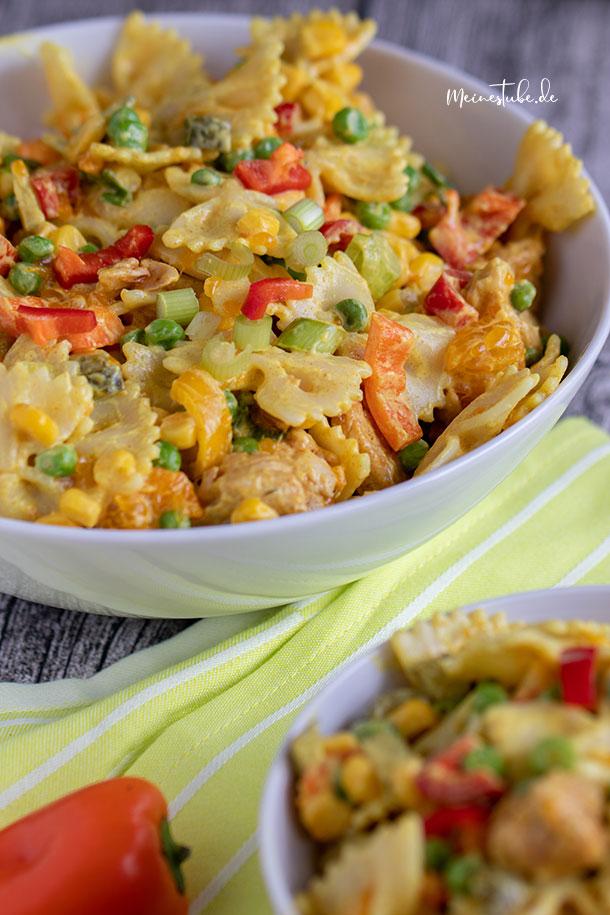 Rezept Nudelsalat mit Pute und Curry