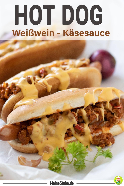Hot Dog mit Hackfleisch und Käsesoße mit meinestube