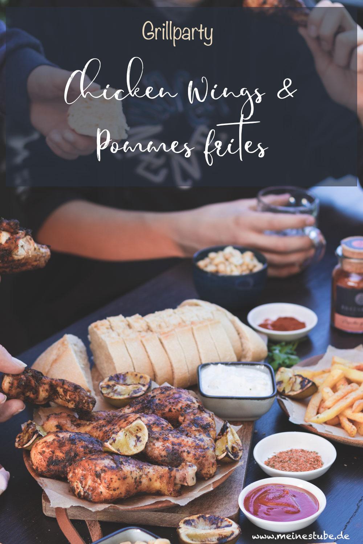 Für die Grillparty, Chicken Wings und Pommes Frites, meinestube