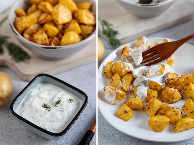 Ofenkartoffeln mit Joghurt und Dill serviert, meinestube