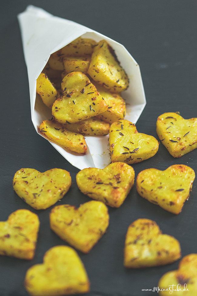 Kartoffelherzen Ofenkartoffeln für den Valentinstag, Meinestube