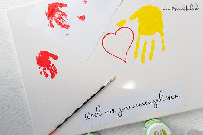 Handabdrücke mit Kinder üben, meinestube