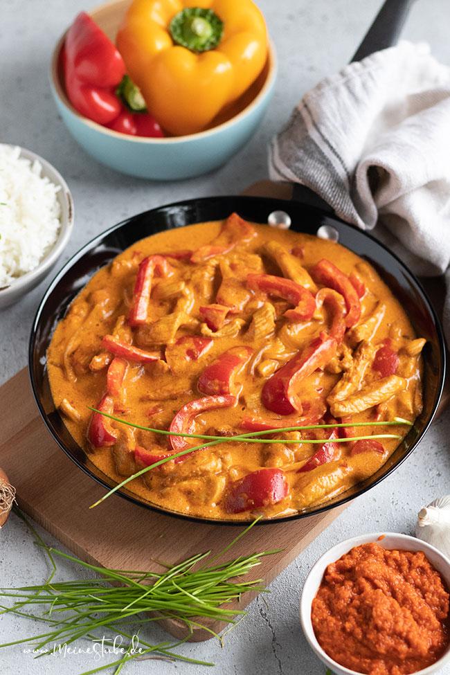 Rezept für Putengeschnetzeltes mit Paprika, meinestube