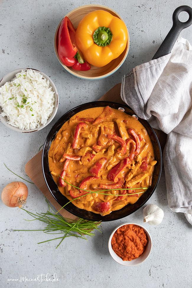 Putengeschnetzeltes mit Paprika schnell gekocht, Meinestube