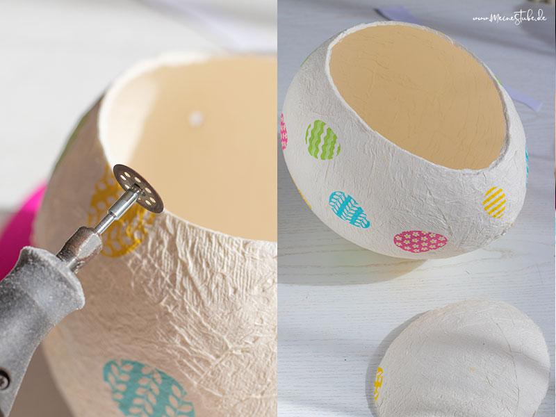 Mit einem Dremel ein Ausschnitt aus dem Ei geschnitten, mit meinestube